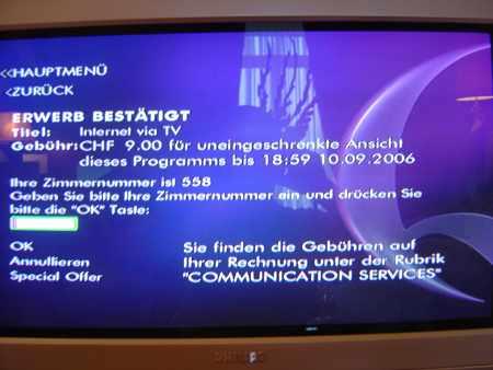 Beau Rivage Palace - Internet via TV