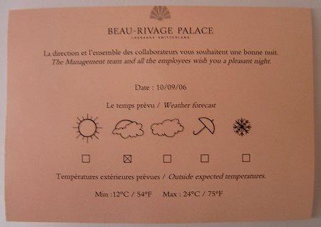 Beau Rivage Palace: Wettervorhersage