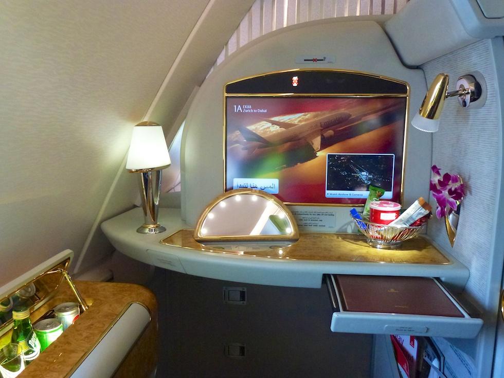 Luxuriöse First-Klass-Kabine im Emirates A380