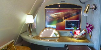 Ein Blick in die First-Class im Emirates A380