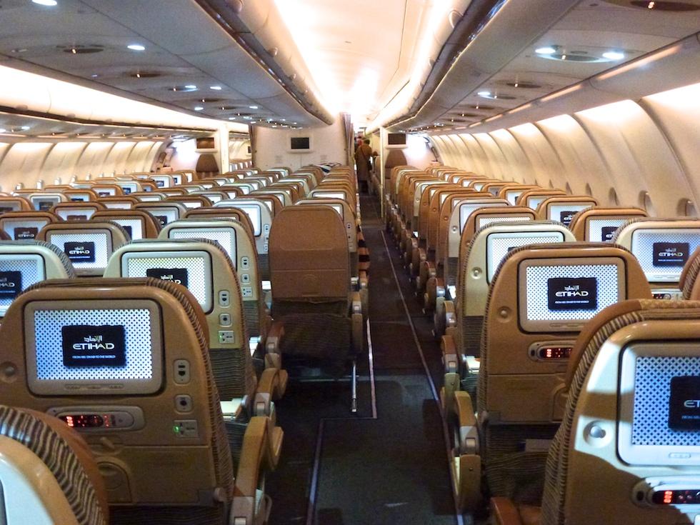 Ein Blick in die Economy-Class des Etihad A330-300