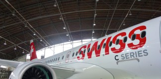 Bombardier CS100 in Swiss Livery