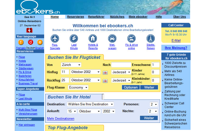Die ebookers.ch-Website im September 2002