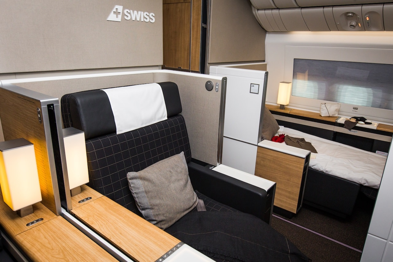 Die neue First Class in der SWISS Boeing 777 (Bild: Rémy Steiner Photography)