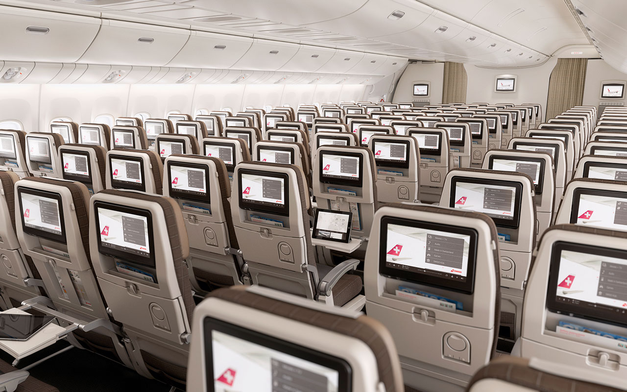Economy Class in 3-4-3 Bestuhlung an Bord der SWISS Boeing 777-300ER (Bild: Swiss International Air Lines)
