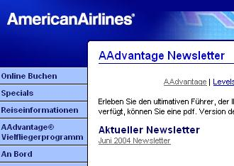 Screenshot American Airlines Webseite Aadvantage Newsletter
