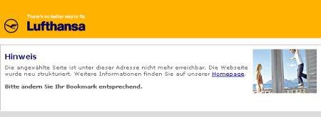 Lufthansa - Die gewählte Seite ist nicht mehr erreichbar.