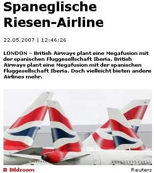 Spaneglische Riesen-Airline - Screenshot blick.ch
